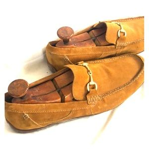 Camel suede Clarks loafers